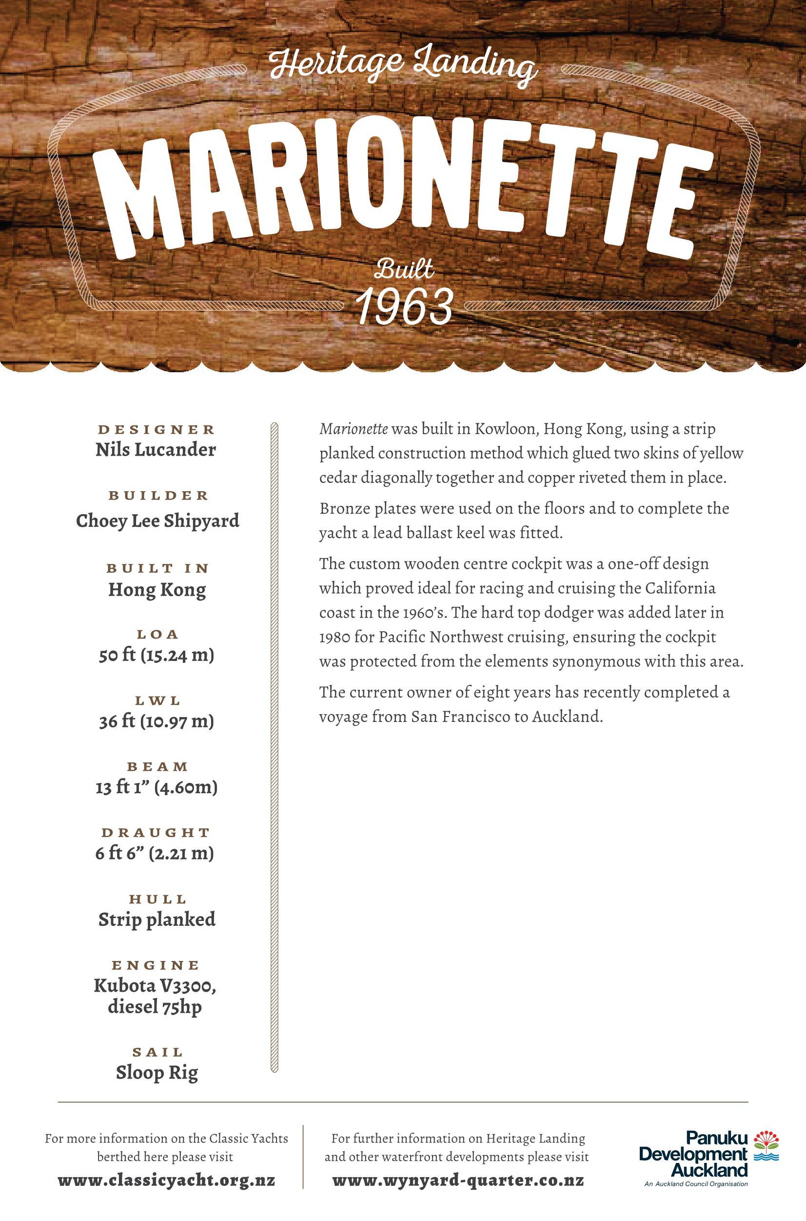 Marionette Sloop Rig Details