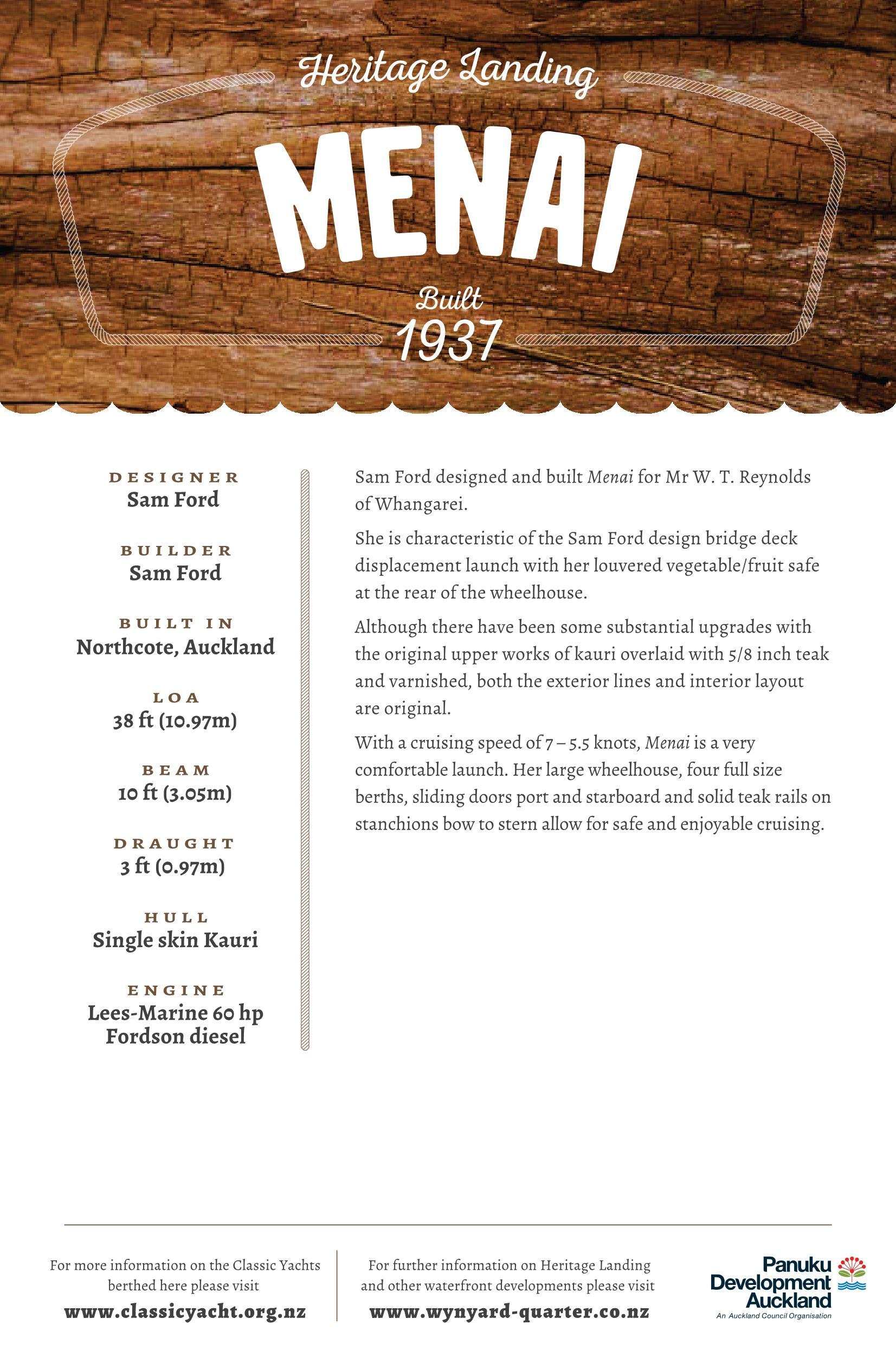 Menai Classic Launch Details